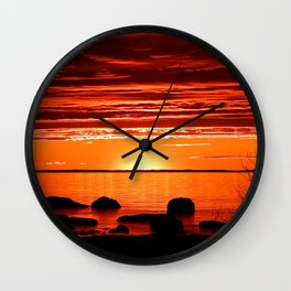Red sunset Delight Wall Clock