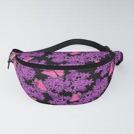 Pink Butterflies Purple Floral Fanny Pack