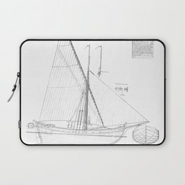 Vintage black & white sailboat blueprint drawing antique nautical beach or lake house preppy decor Laptop Sleeve