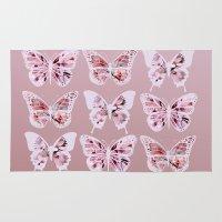 butterflies Area & Throw Rugs featuring Butterflies by Vickn