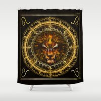 leo Shower Curtains featuring Leo by Skylark Art