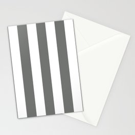 Nickel grey -  solid color - white vertical lines pattern Stationery Cards