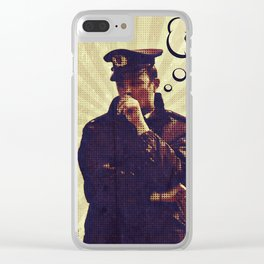 Police officer thinking about recycle Clear iPhone Case