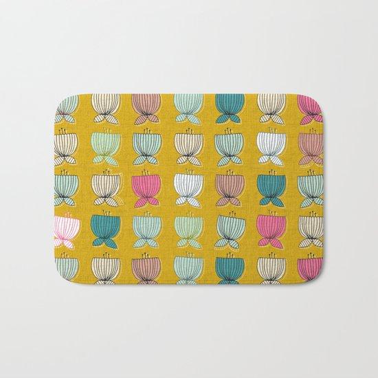 flower cups yellow Bath Mat