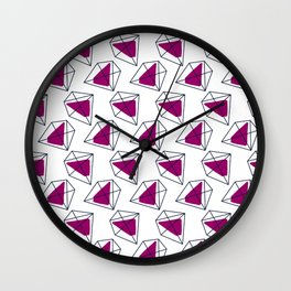Contrast violet hexagons Wall Clock