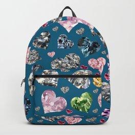 Heart Diamonds are Forever Love Blue Backpack