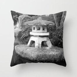Stone lantern in Japanese Zen Garden Throw Pillow