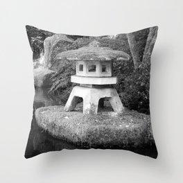 Stone lantern in Japanese Zen Garden Throw Pillow