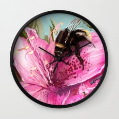 Bee on flower 17 Wall Clock