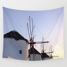Famous Mykonos Windmills in Greece Wall Tapestry