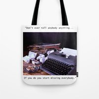 catcher in the rye Tote Bags featuring Vintage Typewriter with Catcher in the Rye quote by TiffanyOneillPhotography