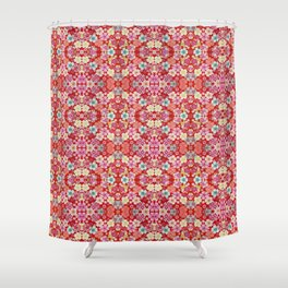 Crimson Floral Chirimen Shower Curtain