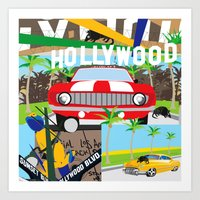 hollywood Art Prints featuring Hollywood by Laia Kaie