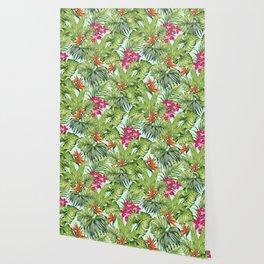 Bird of Paradise Greenery Aloha Hawaiiana Rainforest Tropical Leaves Floral Pattern Wallpaper