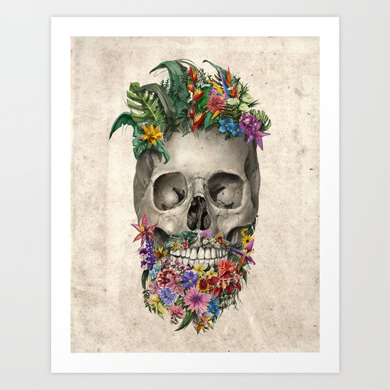 floral beard skull Art Print