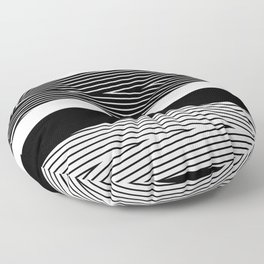 Black and white abstract striped pattern Floor Pillow