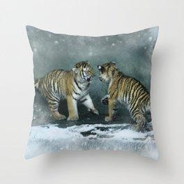 Playful Tiger Cubs Throw Pillow