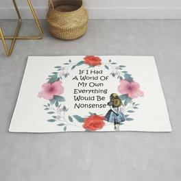Floral Alice In Wonderland Quote - Nonsense Rug