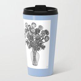 Spring Flowers in Vase on Robin's Egg Blue Background Travel Mug