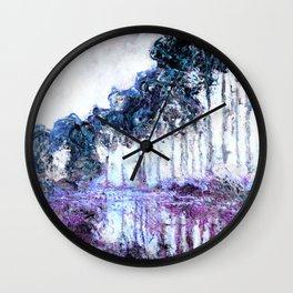 Monet : Poplars Lavender Periwinkle Deep Blue Wall Clock
