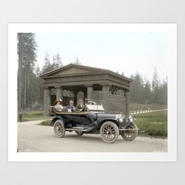 People in a car in front of Lumbermen's Arch at Stanley Park, 1913 Art Print