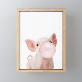 Bubble Gum Baby Pig Framed Mini Art Print
