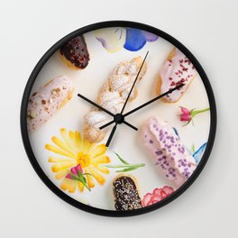 Eclairs with toppings Wall Clock