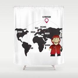 La casa de Papel Money Heist Map Shower Curtain