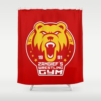 wrestling Shower Curtains featuring Russian Pro Wrestling by Buby87