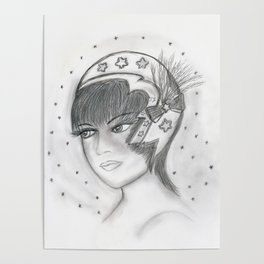 Starry Flapper in Black and White Poster