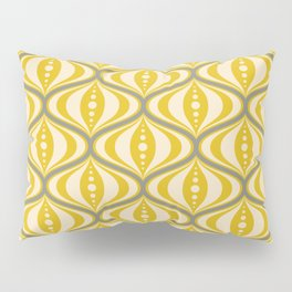 Retro Mid-Century Saucer Pattern in Yellow, Gray, Cream Pillow Sham