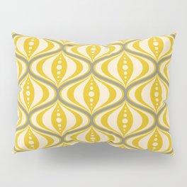 Retro Mid-Century Saucer Pattern in Yellow, Gray, Cream Pillow Sham