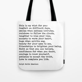 My Wish For You, Ralph Waldo Emerson, Quote Tote Bag