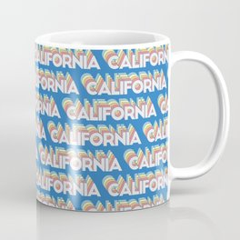 California, USA Trendy Rainbow Text Pattern (Blue) Coffee Mug
