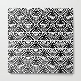 Butterfly and Flower Pattern Black & White Metal Print