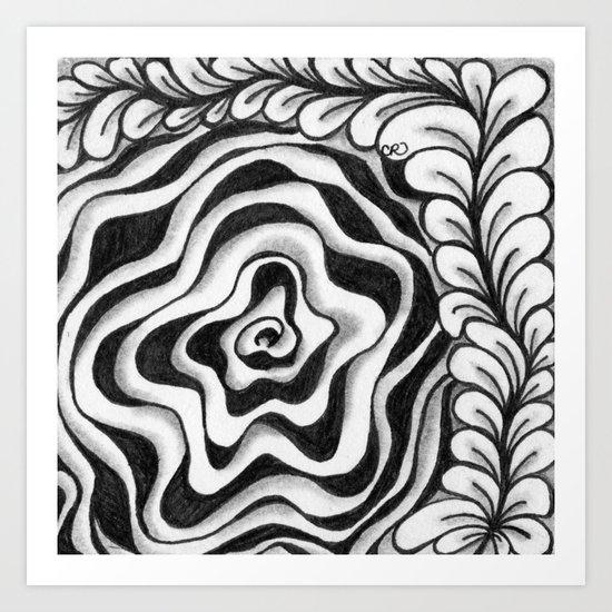Doodled Rose & Vine Art Print