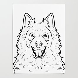 Samoyed Line Drawing Poster