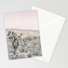 Mojave Pink Dusk // Desert Cactus Landscape Soft Cloudy Sky Mountain Scape Photograph Stationery Cards