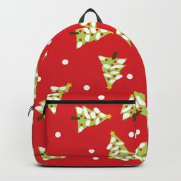Red Green Modern Christmas Tree Backpack