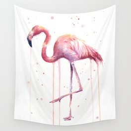 Flamingo Watercolor Tropical bird Wall Tapestry