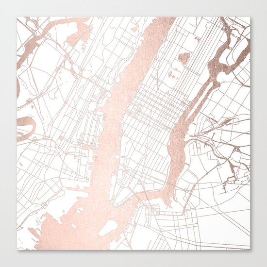 New York City White On Rosegold Street Map Canvas Print By - New york city map streets