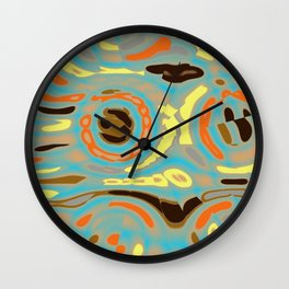 Abstract Design in Orange, Brown, Black and Yellow on Gray Wall Clock