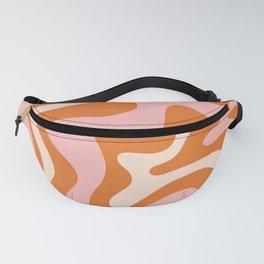 Liquid Swirl Retro Abstract Pattern in Orange Pink Cream Fanny Pack