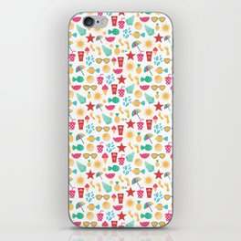 Summer time pattern with colorful beach elements iPhone Skin