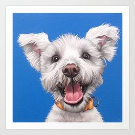 Joyful White Puppy Dog, Smiling Dog Portrait, Sweet Dog Wall Art Art Print