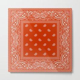 Bandana - Rust - Southwestern - Paisley  Metal Print