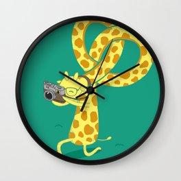 A Giraffe Photographer Wall Clock