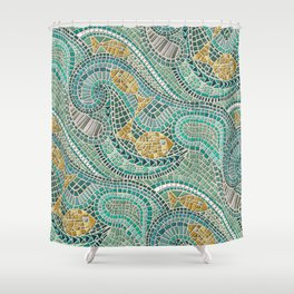 mosaic fish mint Shower Curtain