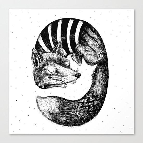 Sleepy Fox Canvas Print