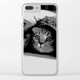 Cute Scottish Fold Cat Hiding Under Blanket In Black And White Animal Design Clear iPhone Case